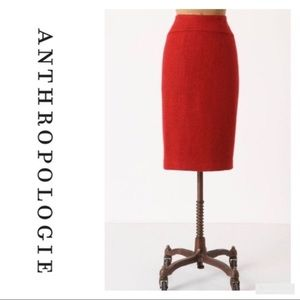 Anthropologie red wool blend pencil skirt size 2